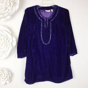 Chico's Purple Velvet Sequin Tunic Top